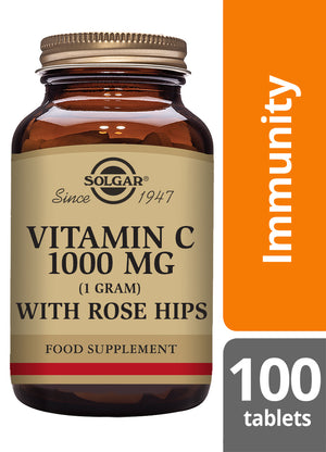 Solgar® Vitamin C 1000mg with Rose Hips Tablets - Pack of 100