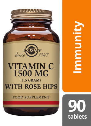 Solgar® Vitamin C 1500mg with Rose Hips Tablets - Pack of 90