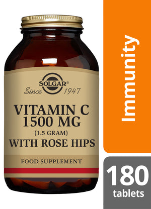 Solgar® Vitamin C 1500mg with Rose Hips Tablets - Pack of 180