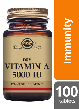 Solgar® Dry Vitamin A 5000 IU Tablets - Pack of 100
