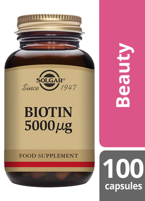 Solgar® Biotin 5000µg Vegetable Capsules - Pack of 100