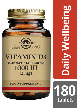 Solgar® Vitamin D3 Cholecalciferol 1000 IU 25µg Tablets - Pack of 180