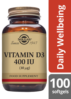 Solgar® Vitamin D3 400 IU 10 Softgels - Pack of 100