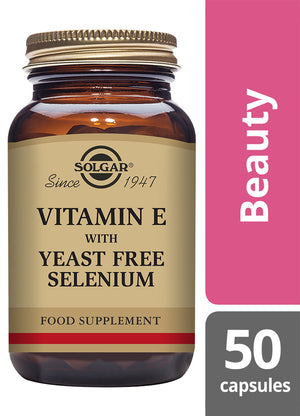 Solgar® Vitamin E with Yeast Free Selenium Vegetable Capsules - Pack of 50