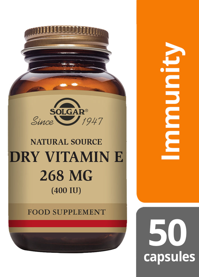 Solgar® Natural Source Dry Vitamin E 268mg (400 IU) Vegetable Capsules - Pack of 50