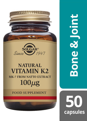 Solgar® Vitamin K2 100µg Vegetable Capsules - pack of 50