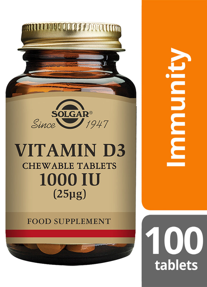 Solgar® Vitamin D3 1000 IU 25 Chewable Tablet - Pack of 100