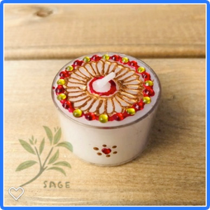 Henna Decorated Maxi Tealights - Gold Flower Mandala  x 2 tealights
