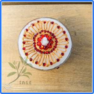 Henna Decorated Maxi Tealights - Gold Flower with Red gems mandala x 2 tealights