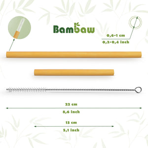Bambaw Bamboo Straws - 12 pack mixed