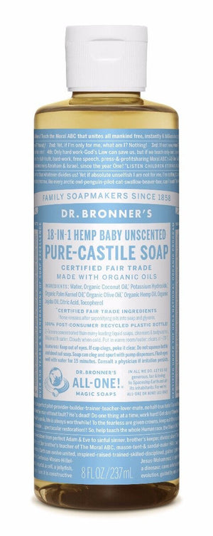 Dr. Bronner's Baby Unscented Mild Pure Castille Liquid Soap 237ml