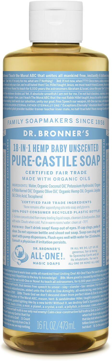 Dr. Bronner's Baby Unscented Mild Pure Castille Liquid Soap 473ml