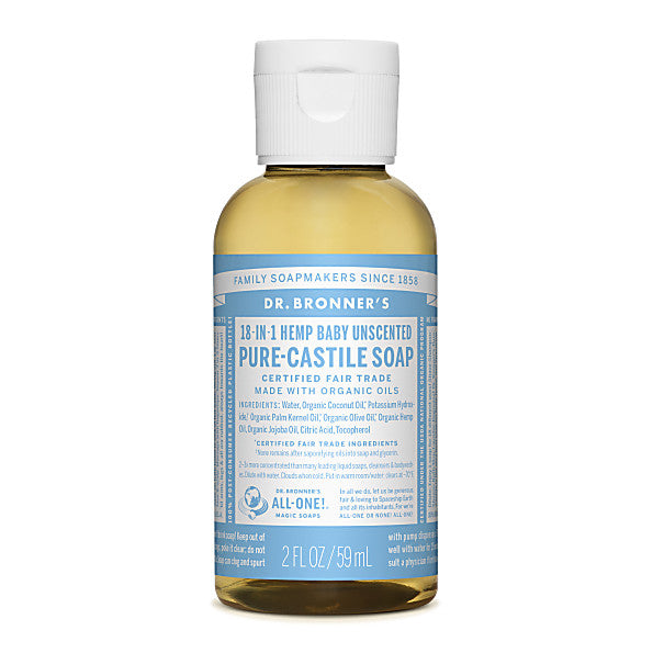 Dr. Bronner's Baby Unscented Mild Pure Castille Liquid Soap 59ml