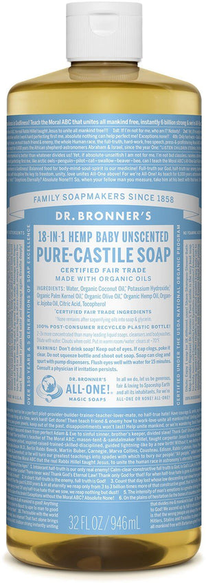 Dr.  Bronner's Baby Unscented Mild Pure Castille Liquid Soap 946ml