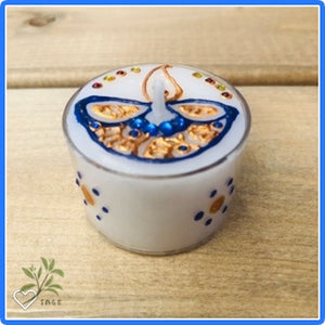 Henna Decorated Maxi Tealights - Blue Diva x 2 tealights