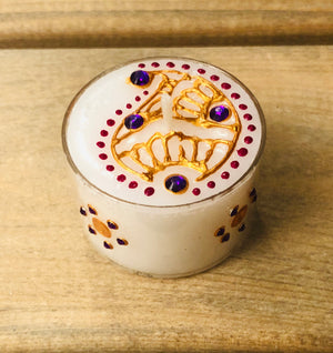 Henna Decorated Maxi Tealights - Gold Paisley with Purple gems x 2 tealights