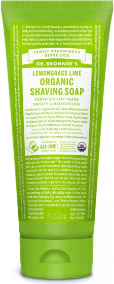 Dr. Bronner's Organic Shaving Soap Lemongrass Lime 208ml
