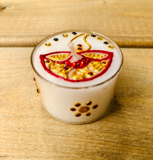 Henna Decorated Maxi Tealights - Red Diva x 2 tealights