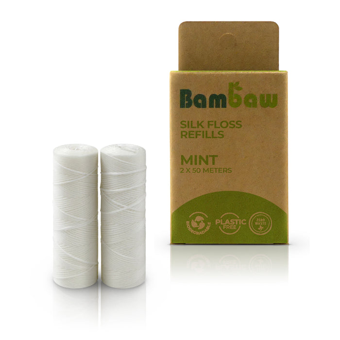 Bambaw Floss Dispenser - Refill Silk Dental Floss Mint 2 x 50m