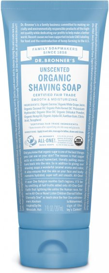 Dr. Bronner's Organic Shaving Soap Unscented 208ml
