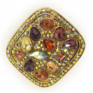BROOCH PIN / PENDANT IRIDESCENT JEWELS GOLD / MULTI-COLOURED