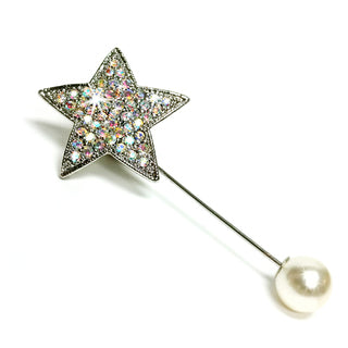 BROOCH STICK PIN STAR WITH PEARL