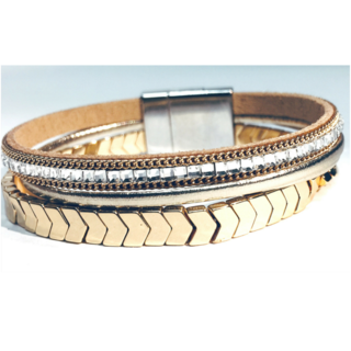 BRACELET BRAIDED MAGNETIC METAL CUFF