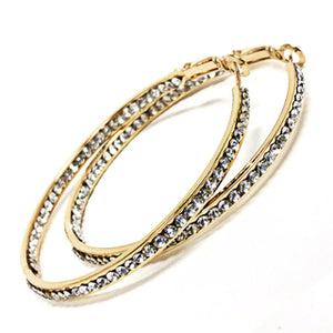 EARRING 50MM INSIDE OUT CRYSTAL HOOP