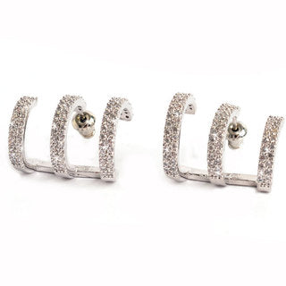 EARRING 3 RINGED CUFF SILVER