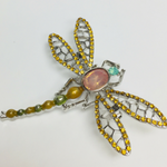 BROOCH DRAGONFLY YELLOW/GREEN