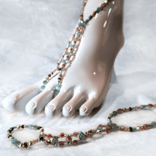 ANKLET SAND JEWEL BEIGE/TURQUOISE