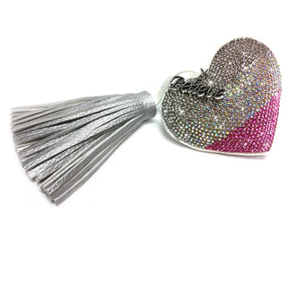 KEYCHAIN HEART WITH TASSEL PINK SILVER