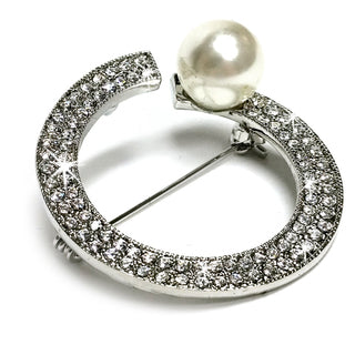 BROOCH CRYSTAL RING WITH PEARL SILVER