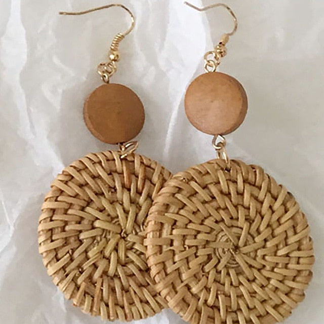 Weave Rattan Long Earrings