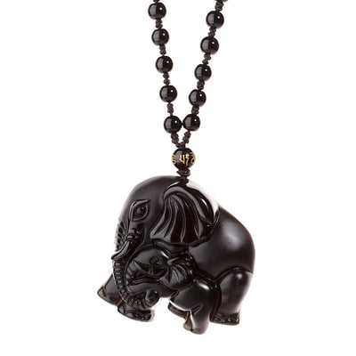 Carved Mother Elephant Obsidian Necklace