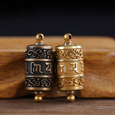 Tibetan Prayer Wheel Amulet - Prayer Wheel necklace