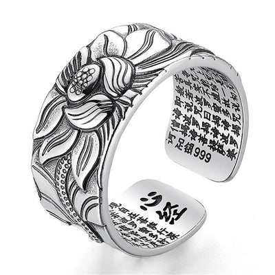 Lotus & Heart Sutra Ring