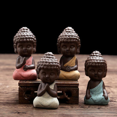 Ceramic Little Buddha Figurine - mini buddha figurine