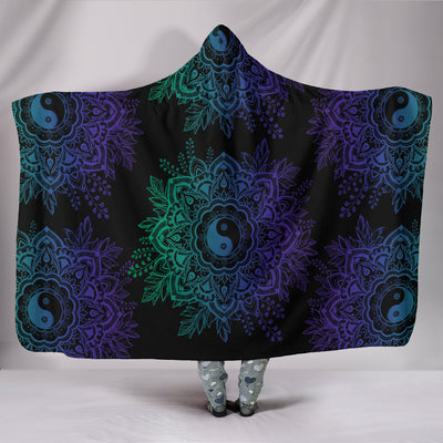 YinYang Lotus Hooded Blanket