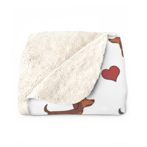 Adorable Doxie Dachshund Sherpa Fleece Blanket