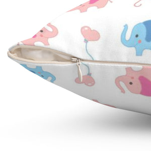 Cute Elephants Polyester Square Pillow Case