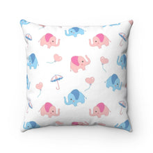 Load image into Gallery viewer, Cute Elephants Polyester Square Pillow Case