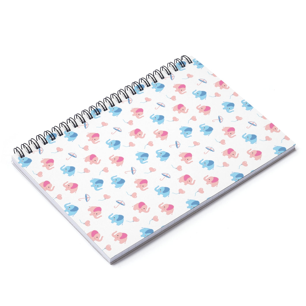 Happy Cute Elephants Spiral Notebook