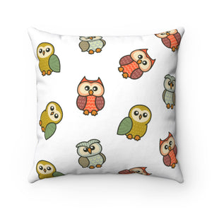 Cute Owls Polyester Square Pillow Case