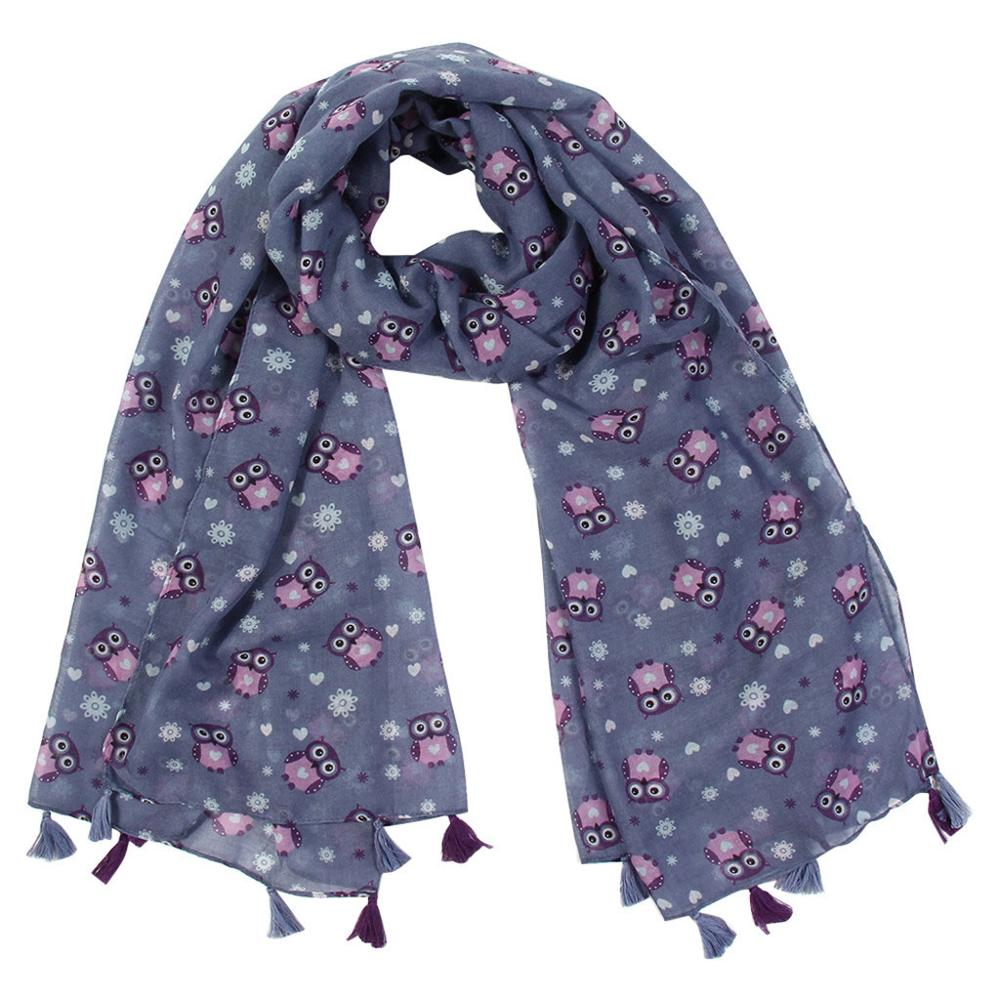 Cute Fashion Owl Women's Printed Scarf