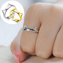 Load image into Gallery viewer, Cute Cat Ears Ring with Adjustable Size