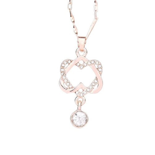 Double Heart Pendant Necklace for Women