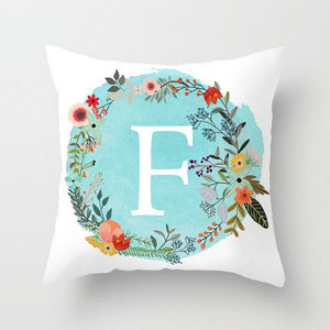 Blue Letter Alphabet Cushion Cover for Home