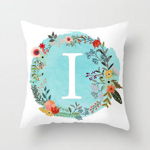 Blue Letter Alphabet Cushion Cover for Home, Sofa and Chairs
