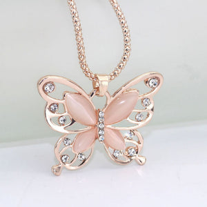 Elegant Rose Gold Butterfly Pendant Necklace